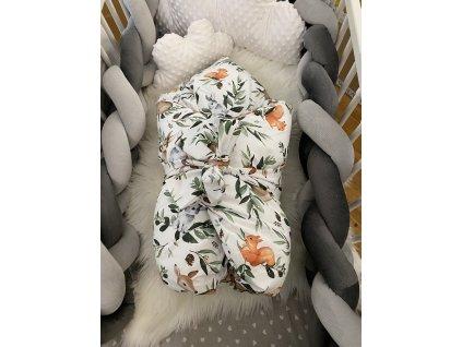 Zimní zavinovačka - premium bavlna LESNÍ ZVÍŘÁTKA