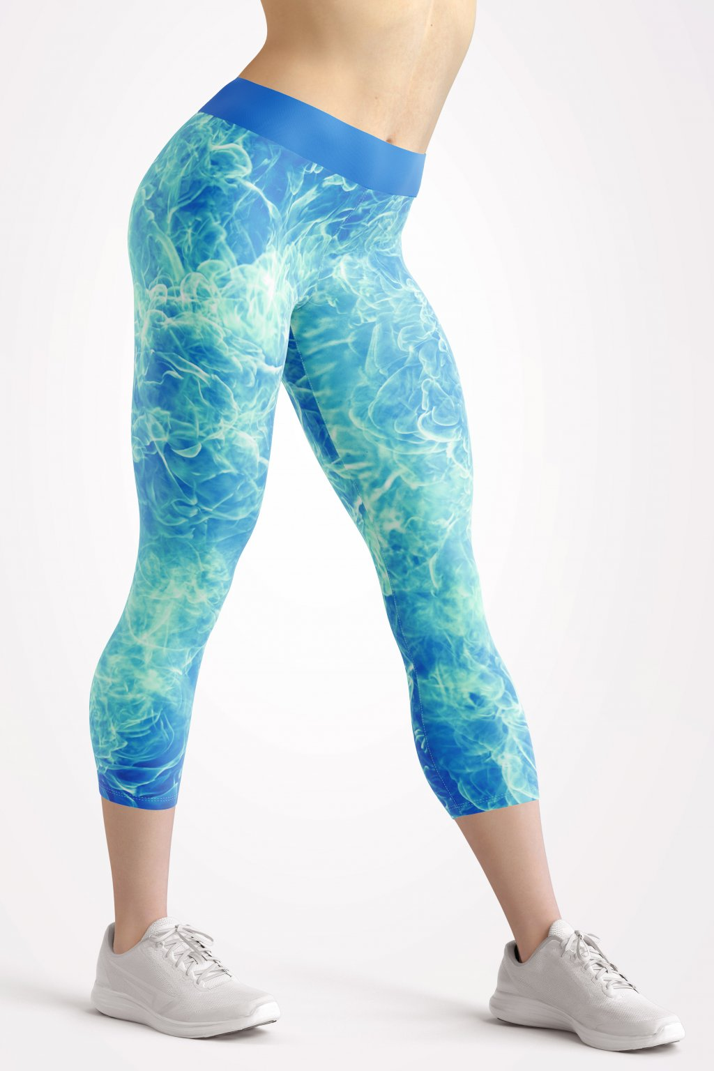blue flames 3 4 leggings front by utopy