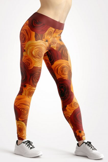 autumn flowers leggings front by utopy