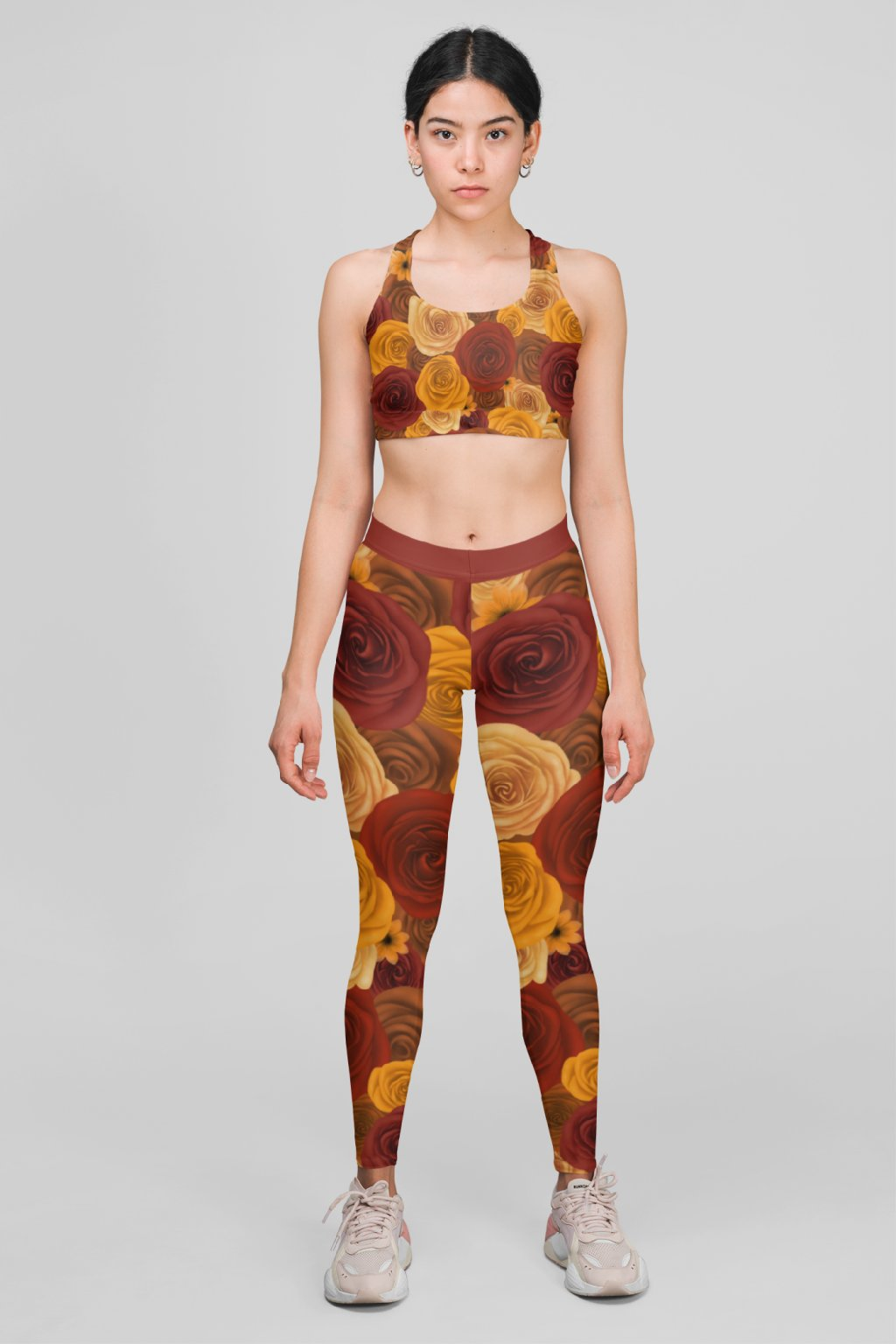 mockup featuring a woman wearing a sports bra and leggings at a studio 28720