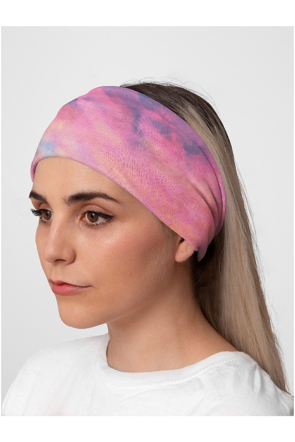 mockup of a woman at a studio wearing a tubular bandana on her head 36077 (1)