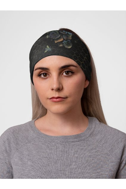 mockup of a woman at a studio with a tubular bandana on her head 36078 (1)