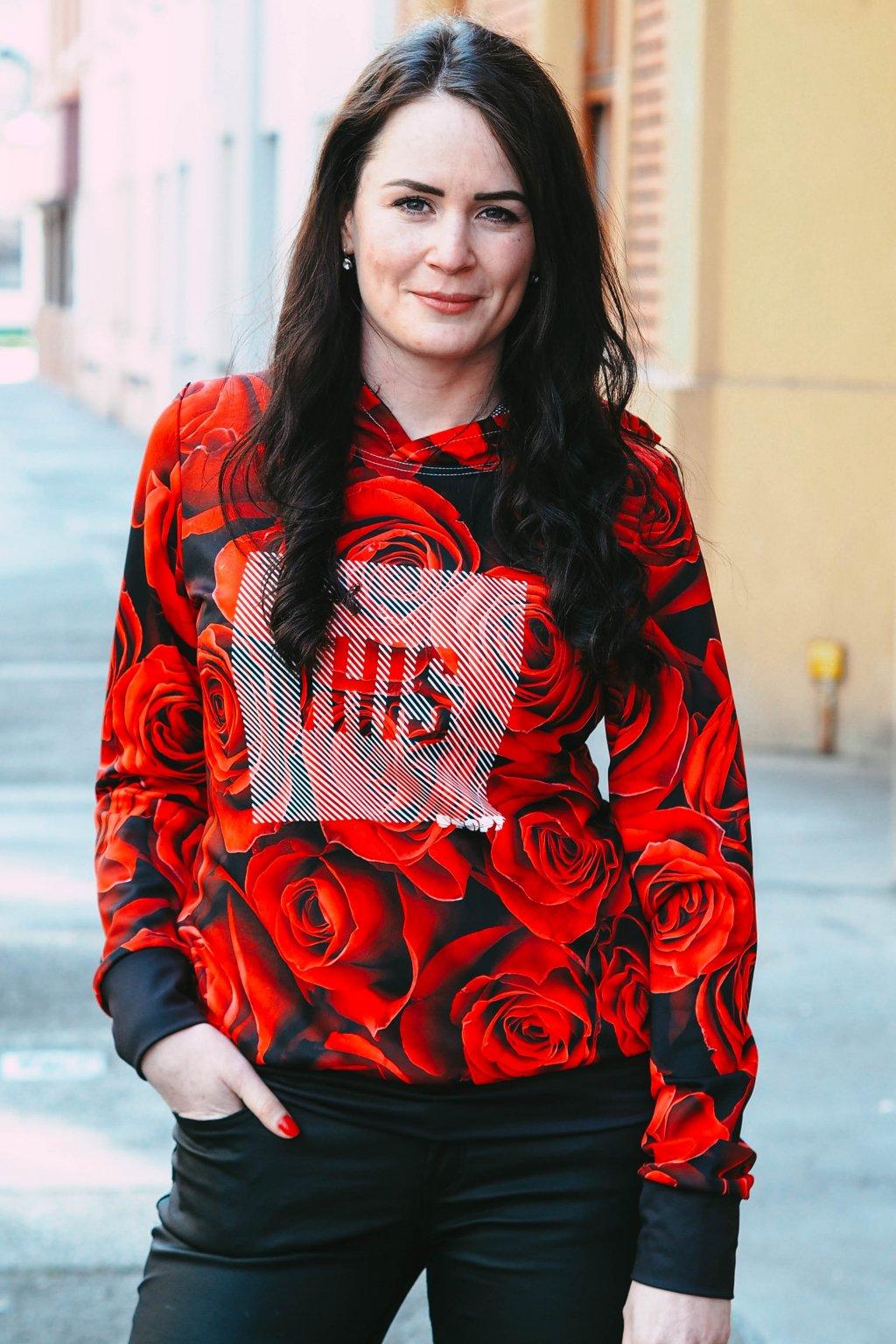 Mikina RED ROZES (Velikost L)