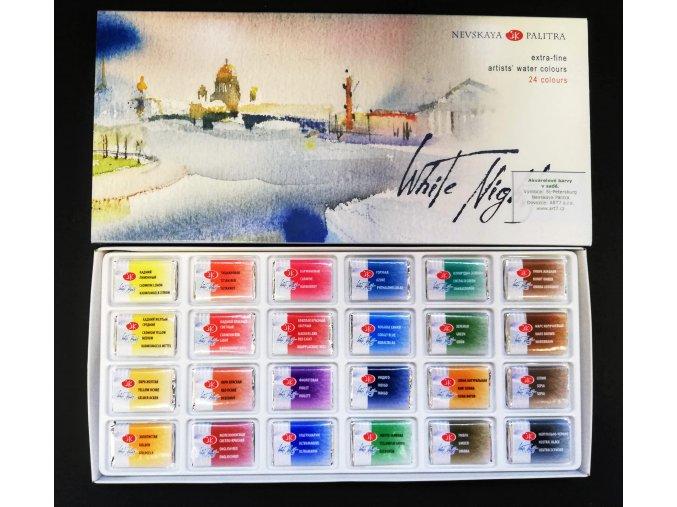 White nights - akvarelové barvy - sada 24 ks