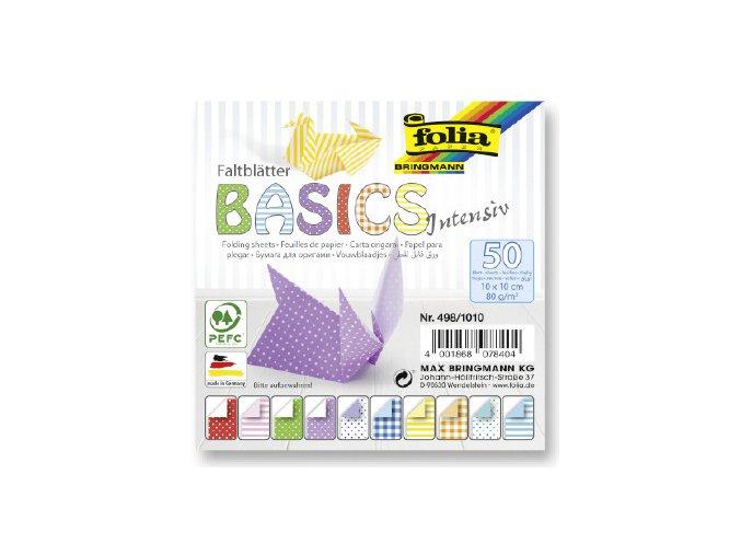 Papíry na skládání ORIGAMI 50 listů,10x10 cm, 80g/m2 BASICS Intensiv