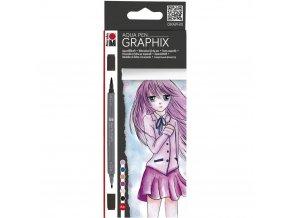 Marabu Aqua pen Graphix - sada 6ks Ma Ke Manga