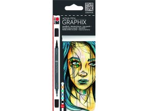 Marabu Aqua pen Graphix - sada 6ks Metropolitan