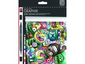 Marabu Aqua pen Graphix - sada 12ks Mega Mash