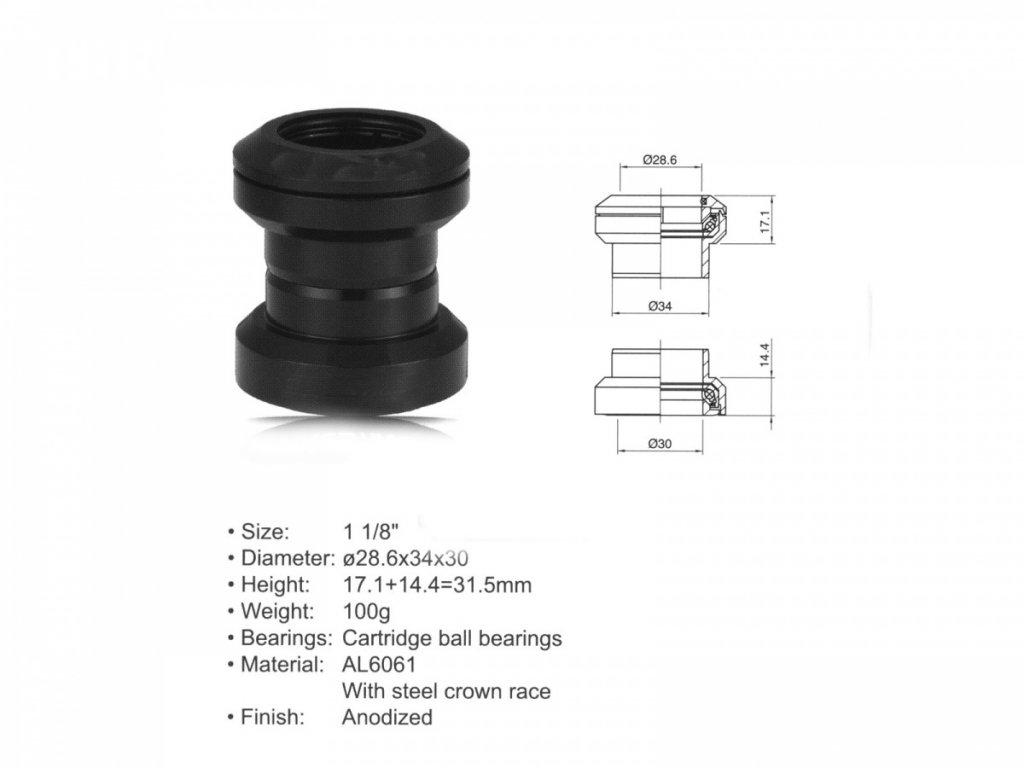 """AUTHOR Hlavové složení ACO-HS04  (1 1/8""""; d:28.6/ 34/ 30mm) (černá)"""