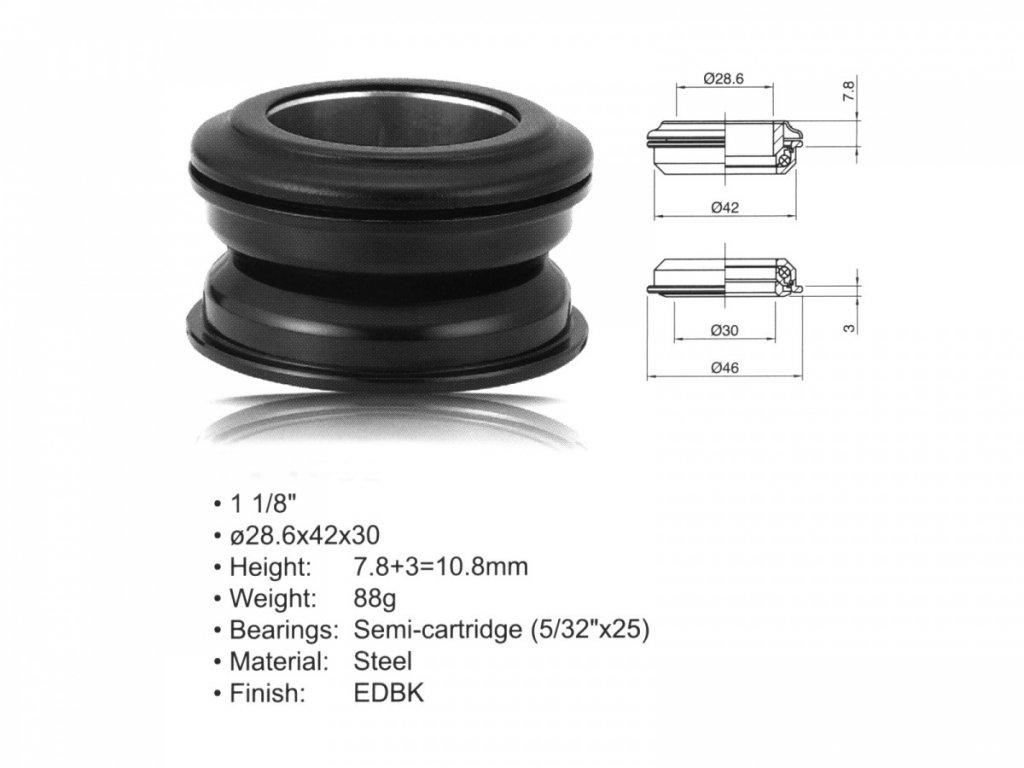 """AUTHOR Hlavové složení ACO-HS24 Internal (1 1/8""""; d:28.6/ 42/ 30mm) (černá)"""
