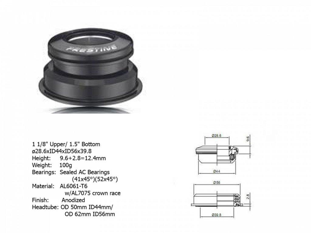 """AUTHOR Hlavové složení ACO-F13H Internal (1 1/8"""" / 1,5""""; d: 39,8/ 44/ 56 mm) (černá)"""