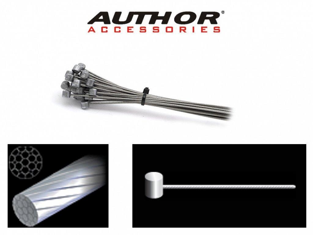 AUTHOR Lanko brzdové ABS-Lb-Mtb 1,5x1500mm (30ks v bal)  (stříbrná)