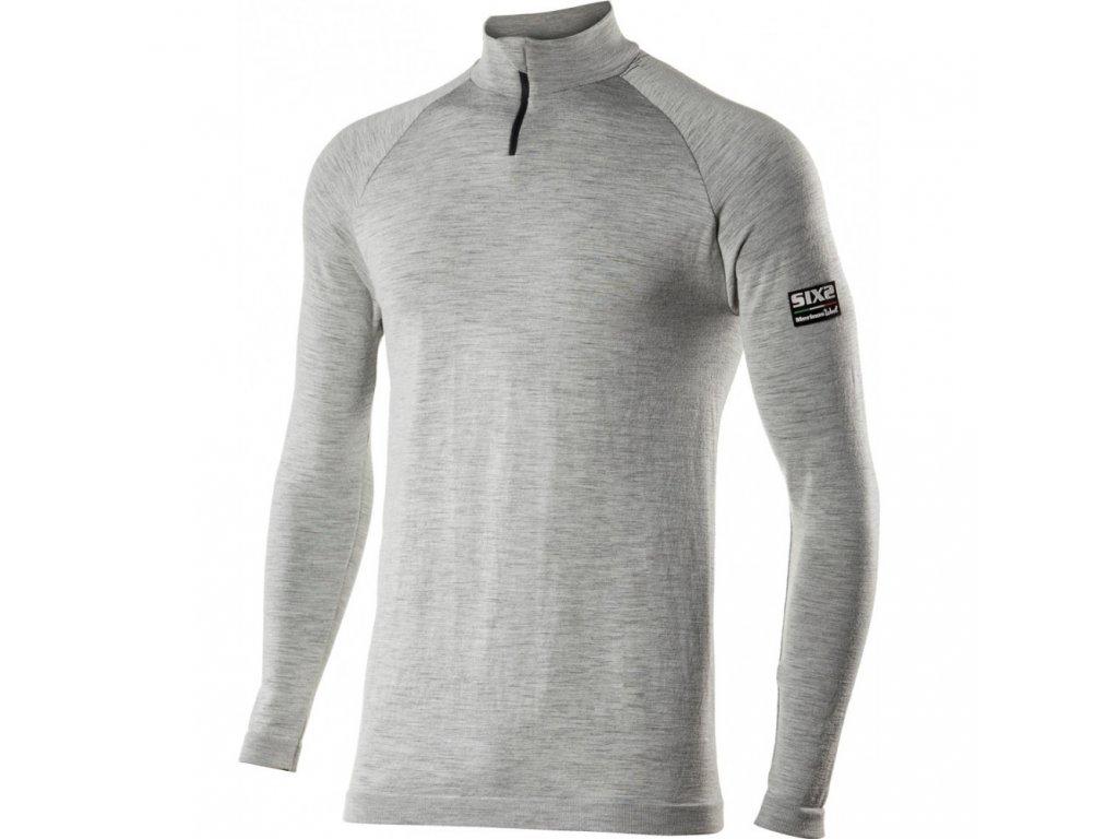 SIXS TS13 Merinos tričko se zipem, rolákem a dl. rukávem