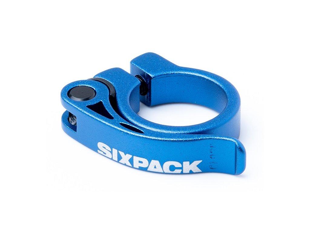 Sedlová objímka Sixpack Menace 31,8 mm modrá