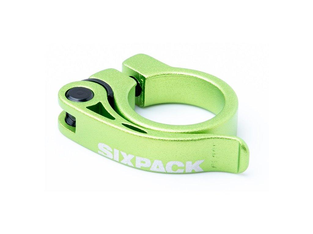 Sedlová objímka Sixpack Menace 31,8 mm zelená