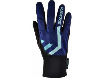 silvini tiber softshellove rukavice navy turquoise