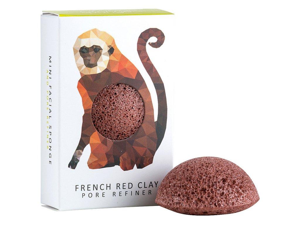 Konjac Sponge Rainforest Mini Monkey - konjaková houba s červeným jílem 1ks