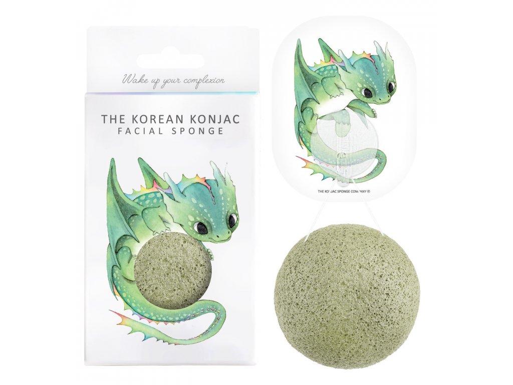 Konjac Sponge Mythical Beast Dragon and Hook - konjaková houba se zeleným jílem 1ks