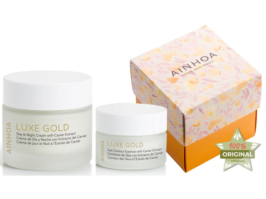 Ainhoa Luxe Gold Summer Set – denní a noční krém s kaviárem pro zralou pleť 50ml + krém na oční okolí s kyselinou hyaluronovou 15ml