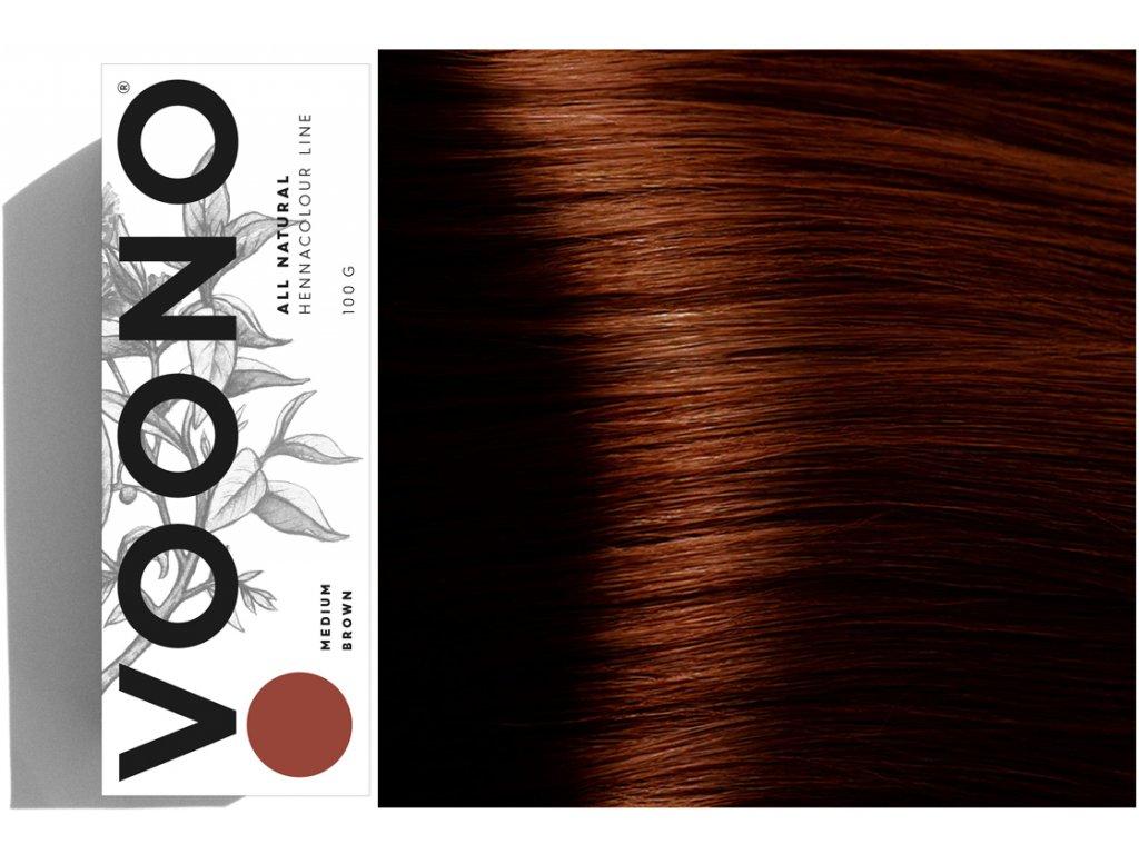 Voono Henna Medium Brown - rostlinná barva na vlasy středně hnědá 100g
