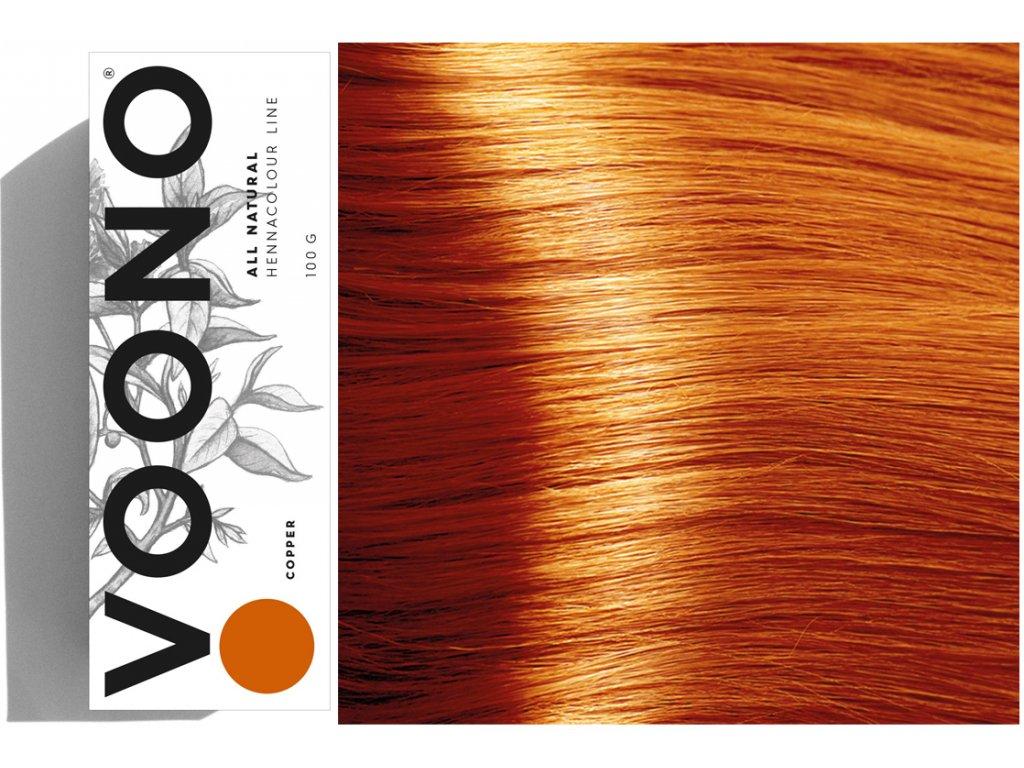 Voono Henna Copper - rostlinná barva na vlasy pro výrazný ohnivý odstín se zrzavými odlesky 100g
