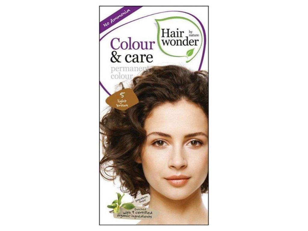 Hairwonder Colour & Care - dlouhotrvající barva na vlasy 5.0 Světle hnědá 100 ml