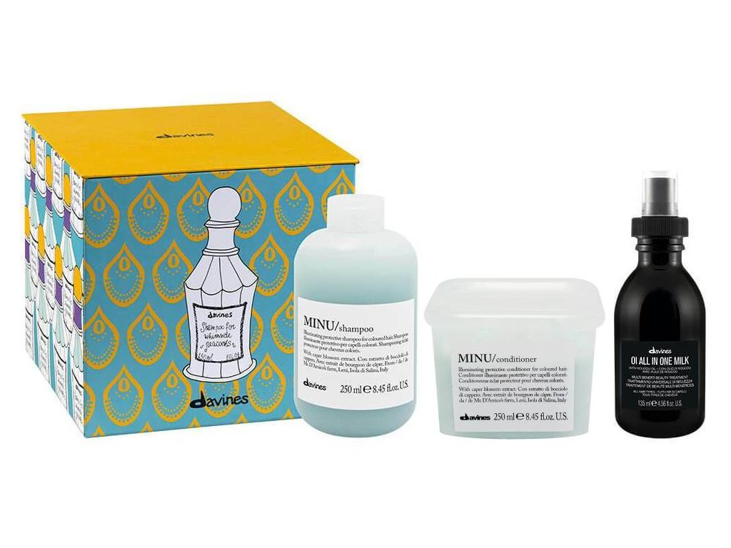 Davines Essential Minu Set - šampon 250 ml + kondicionér 250 ml + bezoplachové mléko 135 ml