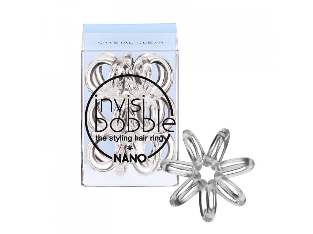 Invisibobble Nano Crystal Clear - gumička do vlasů transparentní 3 ks