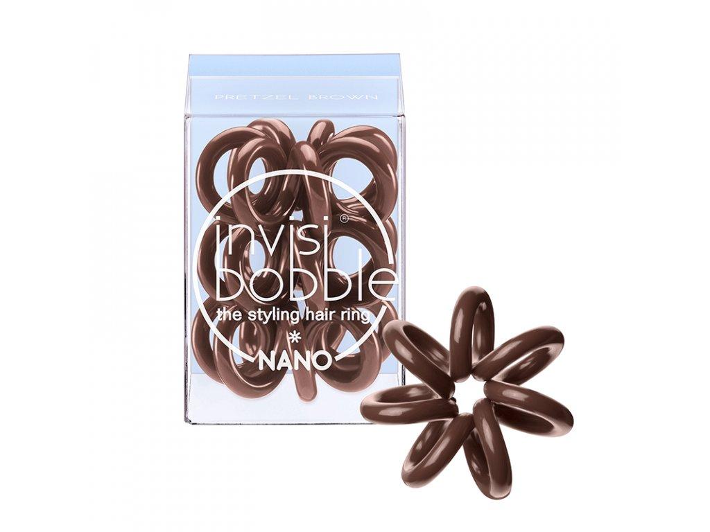 Invisibobble Nano Pretzel Brown - gumička do vlasů hnědá 3ks