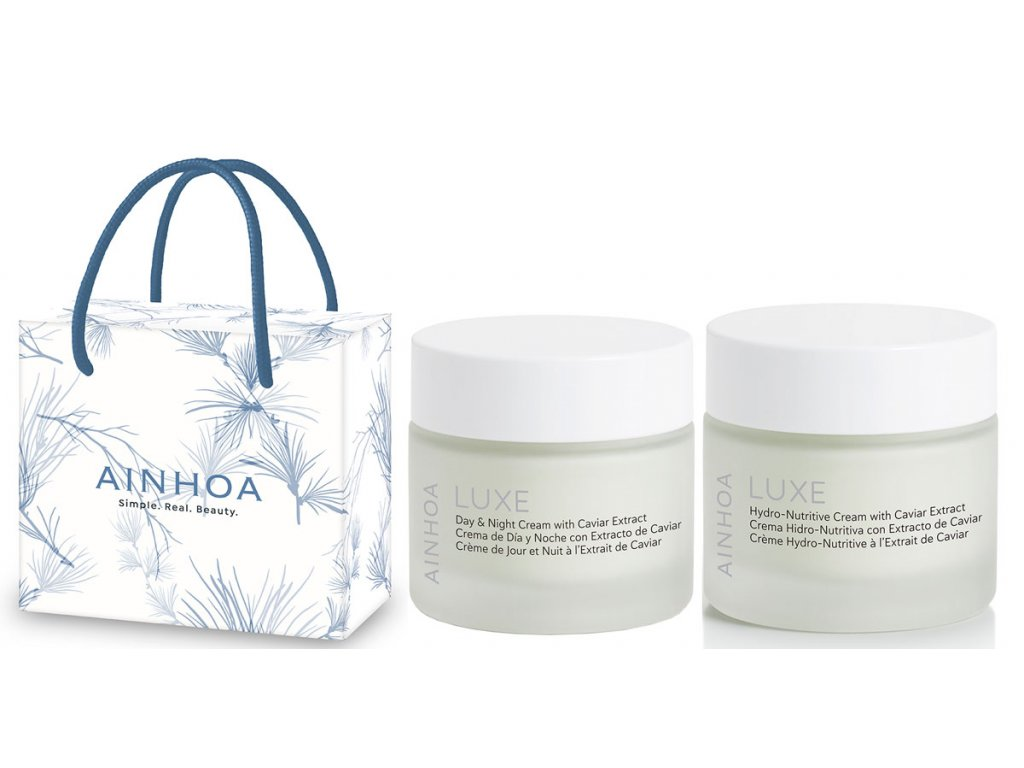 Ainhoa Luxe Cellular Complex Christmas Set – denní a noční krém s kaviárem 50ml + hydronutritivní krém s kaviárem na smíšenou pleť 50ml + kabelka
