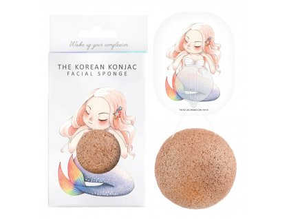 Konjac Sponge Mythical Beast Mermaid and Hook - konjaková houba s růžovým jílem 1ks