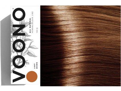Voono Henna Light Brown - rostlinná barva na vlasy světle hnědá 100g