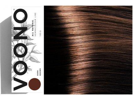 Voono Henna Dark Brown - rostlinná barva na vlasy tmavě hnědá 100g