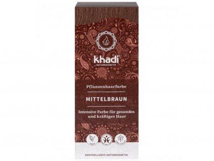Khadi – rostlinná barva na vlasy střední hnědá 100g