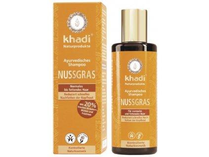 Khadi - šampon OŘECHOVÁ TRÁVA pro normální a mastné vlasy