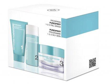 Germaine de Capuccini Purexpert 1-2-3 Oily Skin - gelový krém pro mastnou pleť 50ml + čisticí zmaťnující pěna 30ml + exfoliační fluid 30ml