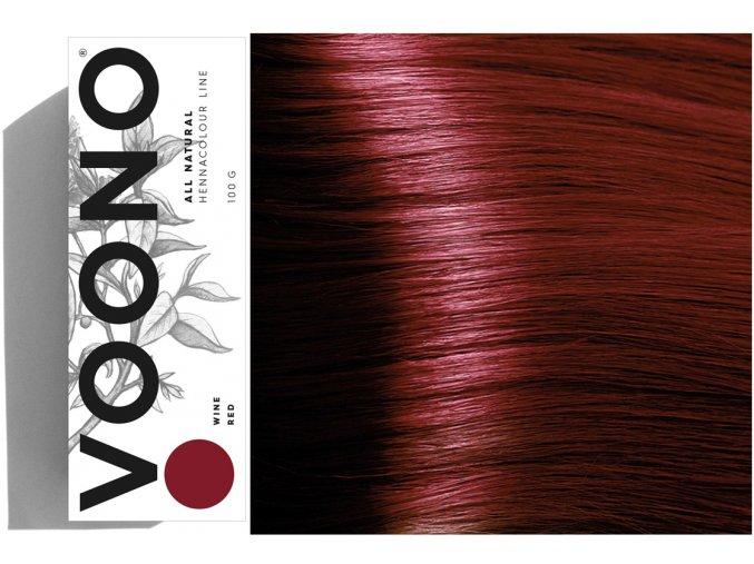 Voono Henna Wine Red - rostlinná barva na vlasy vínově červená 100g