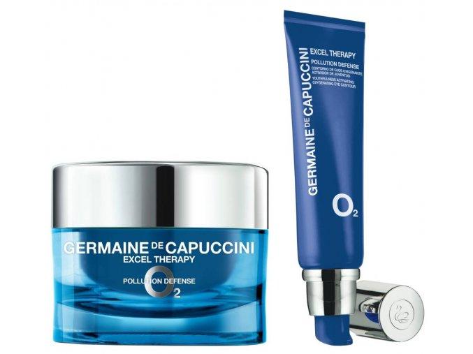 Germaine de Capuccini Excel Therapy O2 Cityproof Set - ochranný krém pro suchou pleť 50ml + okysličující krém na oční okolí 15ml