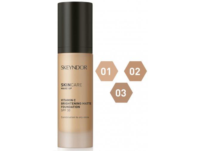 Skeyndor Skincare Makeup Vitamin C Brightening Matte SPF30 – rozjasňující a matující make-up pro smíšenou a mastnou pleť 30ml