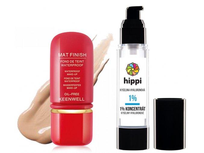 Keenwell Mat Finish Make-up Set - voděodolný make-up s matovým efektem č.1 50ml + Hippi Kyselina Hyaluronová 50ml