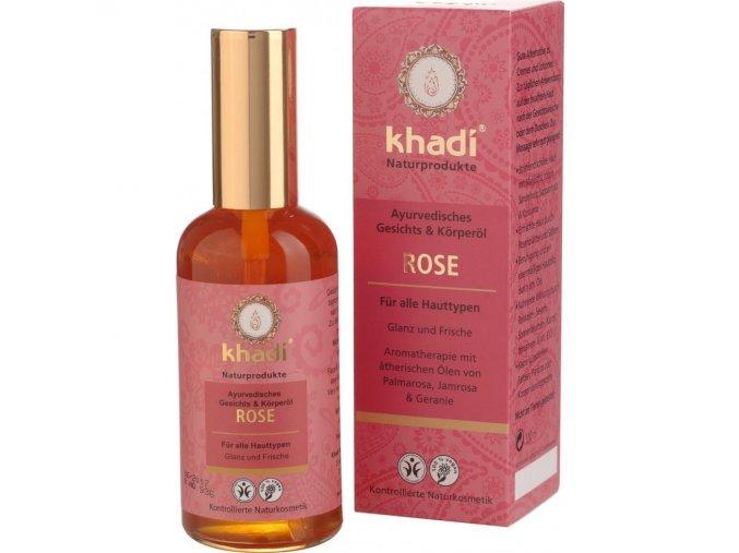 Khadi pleťový a tělový olej Růže pro revitalizaci a vyhlazení všech typů pleti 100ml