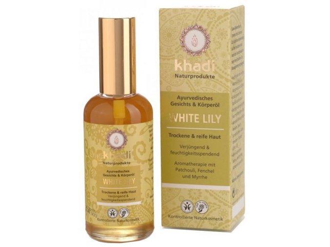 Khadi - pleťový a tělový olej Bílá Lilie pro suchou a zralou pleť 100ml
