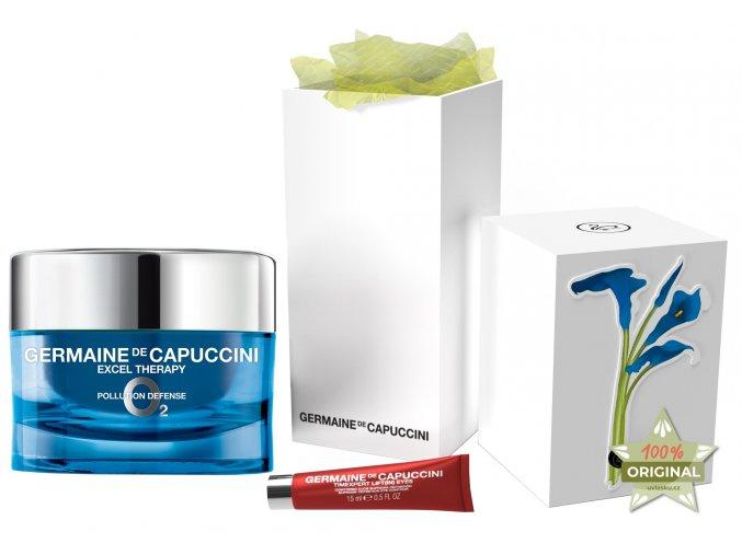 Germaine de Capuccini Excel Therapy O2 Christmas Set – ochranný krém proti vráskám na suchou pleť 50ml + krém na oční okolí 15ml + noční pleťové sérum 15ml + kabelka