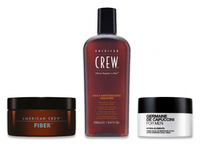 American Crew Christmas Sada - pánský fixační vosk na vlasy 85g + pánský hydratační šampon 250ml + pánský hydratační pleťový krém 50ml