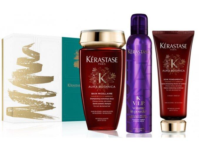 Kérastase Nutritive Irisome Christmas Sada - vyživující šampon pro středně suché vlasy 250ml + vyživující maska pro suché vlasy 200ml + objemový pudr na vlasy ve spreji 250ml