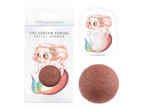 Konjac Sponge Mythical Beast Mermaid and Hook - konjaková houba s červeným jílem 1ks