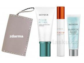 Skeyndor Power Retinol Summer Set - krém s retinolem pro suchou pleť 50ml + krém na oční okolí 15ml + hydratační pleťová maska 8ml + kabelka