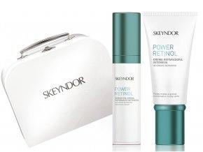 Skeyndor Power Retinol Christmas Set – krém s retinolem na suchou pleť 50ml + pleťové sérum s retinolem 30ml + obnovující noční pleťový koncentrát 7x2ml + kabelka
