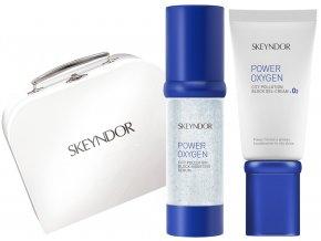 Skeyndor Power Oxygen Christmas Set – revitalizační gelový krém na smíšenou a mastnou pleť 50ml + ochranné gelové sérum 30ml + obnovující noční pleťový koncentrát 7x2ml + kabelka