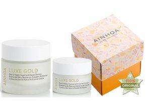 Ainhoa Luxe Gold Summer Set - denní a noční krém pro zralou pleť 50ml + pleťové sérum 30ml + krém na oční okolí 15ml + kabelka